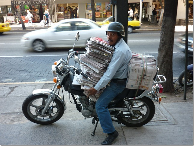 Looks like a safe way to transport newspapers around